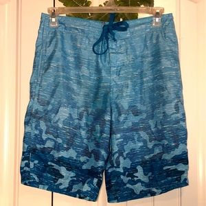 Red Camel blue ombré camouflage board shorts, 32